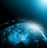 World map on a technological background. America. Best Internet Concept of global business. Elements of this image Stock Photography