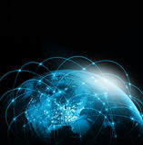 World map on a technological background. America. Best Internet Concept of global business. Elements of this image Stock Photos