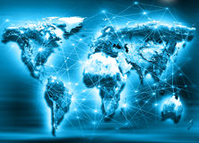 World map on a technological background. Best Internet Concept of global business. Elements of this image furnished by Stock Photo