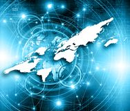 World map on a technological background, glowing lines symbols of the Internet, radio, television, mobile and satellite Stock Image