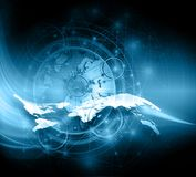 World map on a technological background, glowing lines symbols of the Internet, radio, television, mobile and satellite Stock Photo