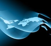 World map on a technological background, glowing lines symbols of the Internet, radio, television, mobile and satellite Stock Photography