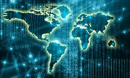 World map on a technological background, glowing lines symbols of the Internet, radio, television, mobile and satellite Stock Photos
