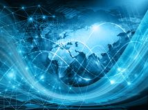 World map on a technological background, glowing lines symbols of the Internet, radio, television, mobile and satellite Royalty Free Stock Image