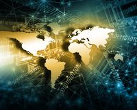 World map on a technological background, glowing lines symbols of the Internet, radio, television, mobile and satellite Royalty Free Stock Photo