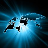 World map on a technological background, glowing lines symbols of the Internet, radio, television, mobile and satellite Stock Images