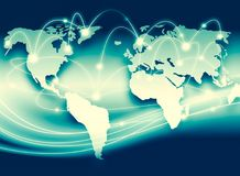 World map on a technological background, glowing lines symbols of the Internet, radio, television, mobile and satellite. Communications. Internet Concept of Stock Photo