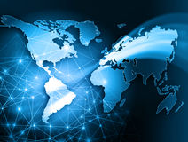 World map on a technological background, glowing Royalty Free Stock Photo