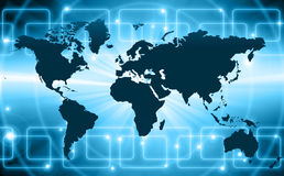 World map on a technological background, glowing royalty free stock photography