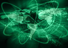 World map on a technological background, glowing lines symbols of the Internet, radio, television, mobile and satellite. Communications. Internet Concept of Stock Photos