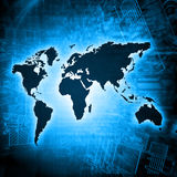 World map on a technological background, glowing lines symbols of the Internet, radio, television, mobile and satellite. Communications. Internet Concept of Stock Image