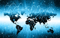 World map on a technological background, glowing lines symbols of the Internet, radio, television, mobile and satellite. Communications. Internet Concept of Royalty Free Stock Photo