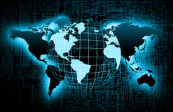 World map on a technological background, glowing lines symbols of the Internet, radio, television, mobile and satellite. Communications. Internet Concept of Stock Photography