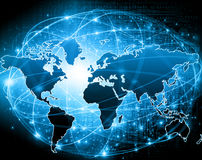 World map on a technological background, glowing lines symbols of the Internet, radio, television, mobile and satellite. Communications. Internet Concept of Royalty Free Stock Photos