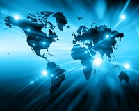 World map on a technological background, glowing lines symbols of the Internet, radio, television, mobile and satellite Royalty Free Stock Images