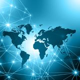 World map on a technological background, glowing lines symbols of the Internet, radio, television, mobile and satellite Royalty Free Stock Photography