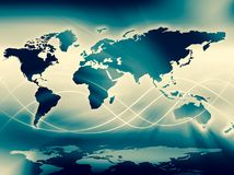 World map on a technological background, glowing lines symbols of the Internet, radio, television, mobile and satellite. Communications. Internet Concept of Stock Images