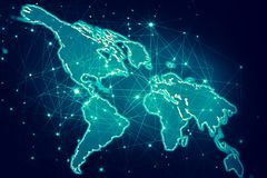 World map on a technological background, glowing lines symbols of the Internet, radio, television, mobile and satellite. Communications. Internet Concept of Vector Illustration