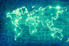 World map on a technological background, glowing lines symbols of the Internet, radio, television, mobile and satellite. Communications. Internet Concept of Stock Illustration