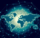 World map on a technological background, glowing lines symbols of the Internet, radio, television, mobile and satellite. Communications. Internet Concept of Royalty Free Illustration