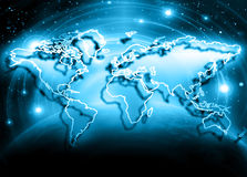 World map on a technological background, glowing lines symbols of the Internet, radio, television, mobile and satellite Royalty Free Stock Photos