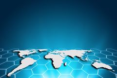 World map on a technology hexagon background, glowing hexagon li. Nes connected, global network and global communication. Internet Concept of global business Royalty Free Stock Photography