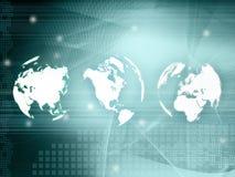 World map technology-style. (America,Europe,asia Stock Photo