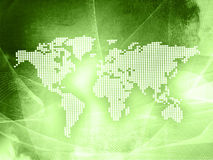 World map technology-style. (America,Europe,asia Stock Image