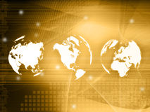 World map technology-style. (America,Europe,asia Royalty Free Stock Image