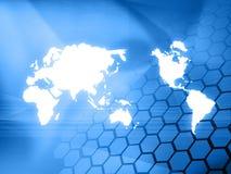 World map technology-style. (America,Europe,asia Royalty Free Stock Photos