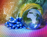 World map technology style against fiber optic Royalty Free Stock Images