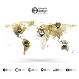 World map template, triangle design, infographics Royalty Free Stock Photo