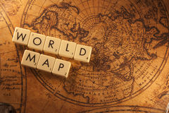 World map. The text World map with a map on background Royalty Free Illustration