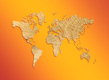 World map from texture of a tree Stock Image