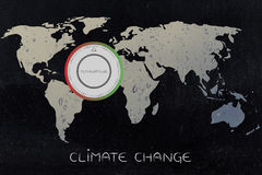 World map with thermostat, global warming & climate change Royalty Free Stock Photo