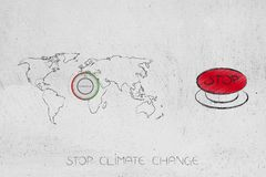 World map with thermostat next to stop climate change red buttion. Stop climate change conceptual illustration: world map with thermostat next to red buttion royalty free illustration