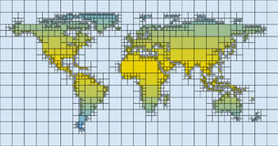 World Map Tile Earth Squares Puzzle Stock Images