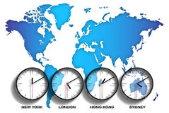 World Map Time Zones Stock Photography
