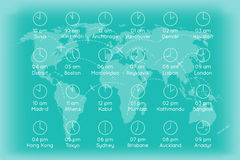 World map with time zones infographics background Royalty Free Stock Photography