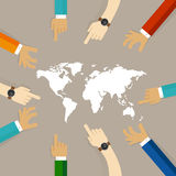 World map together hands pointing together concept of temwork collaboration international relationship between countries Stock Photos