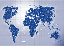 The world map in transportation concept Stock Photo