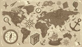 World map with travel icons Stock Image
