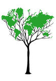 World map tree Stock Photos