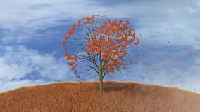 World map on a tree, falling leaves. Footage of world map on a tree, falling leaves stock video footage