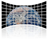 World map on tv screens (white background). A world map on tv screens (white background royalty free stock photos