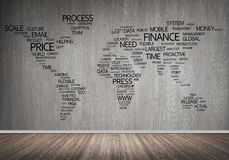 World map in typography. Concept of global business with world map on concrete wall royalty free stock photo