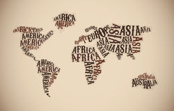 World Map in Typography. Continent words Stock Photography