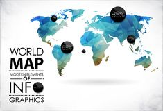 World Map and typography Royalty Free Stock Photo