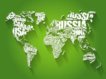 World Map in Typography word cloud. Concept, names of countries Stock Photo