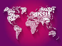 World Map in Typography word cloud. Concept, names of countries Stock Image